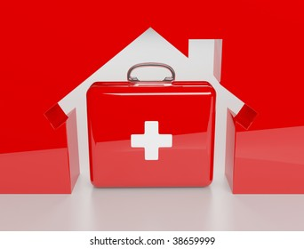 3d House metaphore and insurance isolated on the white background