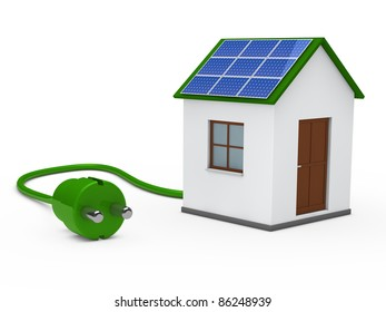 3d house with solar panal plug green