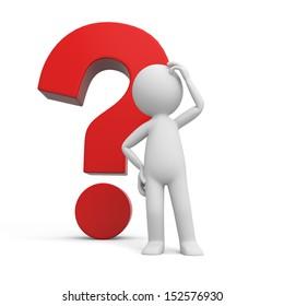 A 3d human character/ a question mark