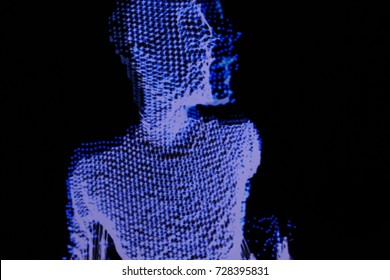 3D human figure in polygonal mesh (3D grid). Computer simulation. Body scanning. Human body model.