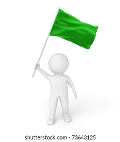 3d human with green flag