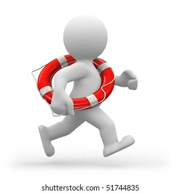 3d human life-guard running with a life belt