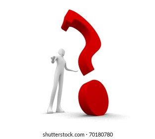 3d human looking up onto a big red question mark - The big question