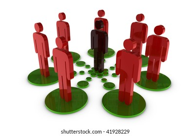 3D Human network - white background