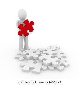 3d human puzzle red business white success