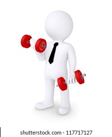 3d human with red dumbbells. Isolated on white background