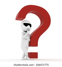 3d human with a red question marks in white background