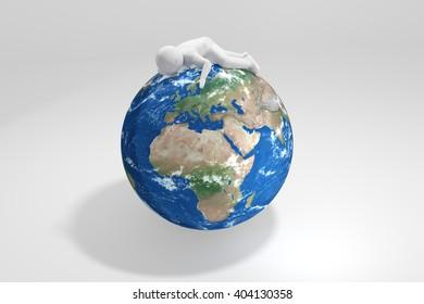 3d human sleeps on Earth - Europe, Africa, Middle East