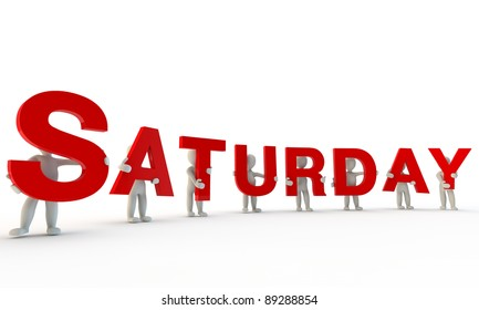 3D humans forming red word Saturday made from 3d rendered letters isolated on white