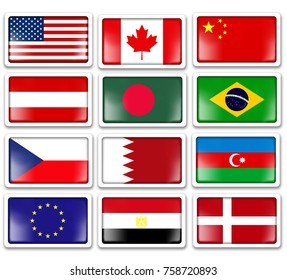 3d icons of flags, set of flags.