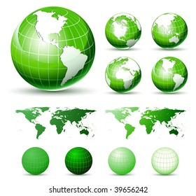 3D Icons: Glossy Green Earth Globes. Different views.