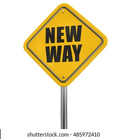 3D Illstration. New Way road sign. Image with clipping path