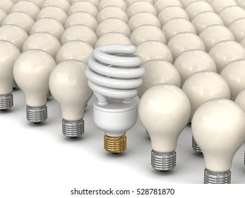 3D Illusration. Energy Saving Light Bulb and incandescent lamps. Image with clipping path