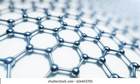 3d illusrtation of graphene molecules. Nanotechnology background illustration
