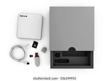 3d Illustaration of Black and silver flash and hdd and open gray box on white background. Mockup