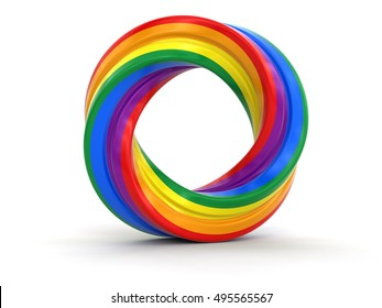 3D Illustartion. Color twisted ring. Image with clipping path