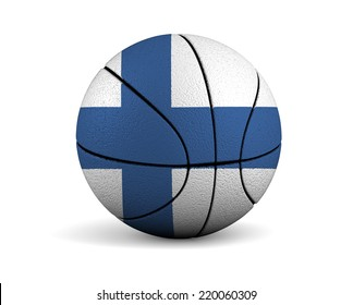 3d illustrated basketball with Finland flag