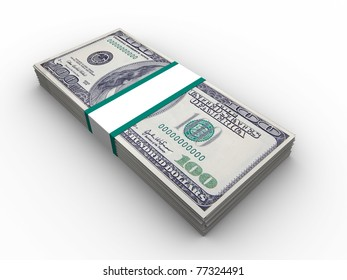 3d illustration of 100 dollars banknotes stack