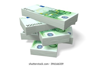 3D illustration - 100 Euro - fortune concept
