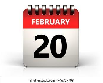 3d illustration of 20 february calendar over white background