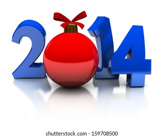 3d illustration of 2014 new year text and xmas ball