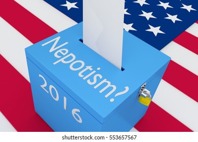 "3D illustration of ""Nepotism?"", ""2016"" scripts and on ballot box, with US flag as a background."