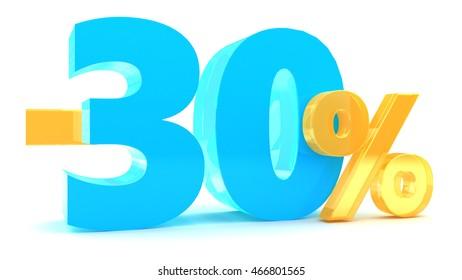 3d illustration of 30 percent discount