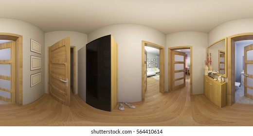 3d illustration 360 degrees panorama of hall interior design