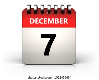 3d illustration of 7 december calendar over white background
