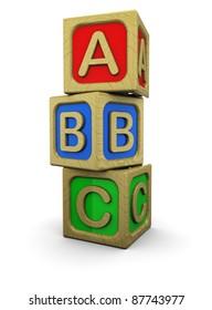 3d illustration of abc wooden blocks, over white background