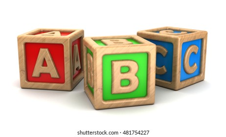 3d illustration of abc wooden cubes