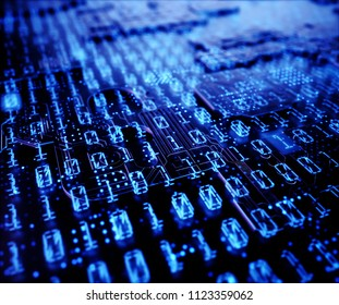 3D illustration. Abstract background of binary codes on a digital display, technology concept.
