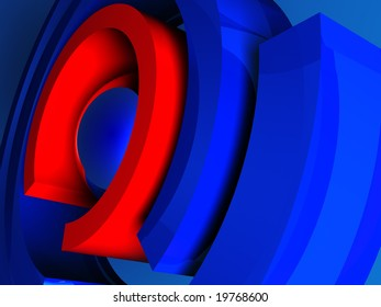 3d illustration of abstract background with colored rings
