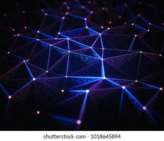 3D illustration. Abstract background, connection and lines of technology.