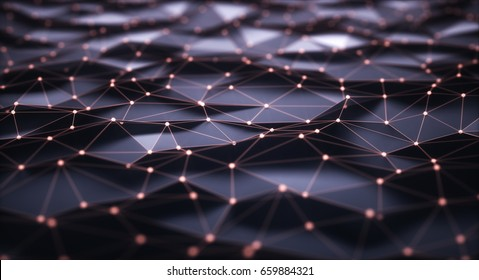 3D illustration, abstract background. Mesh with connections and points that can represent cloud computing or internet connections.