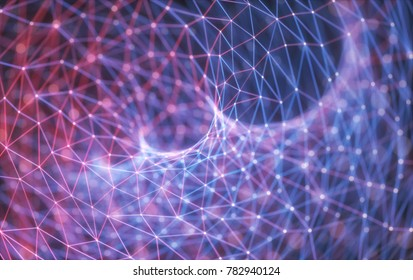 3D illustration of an abstract image of lines and dots representing connection technology.