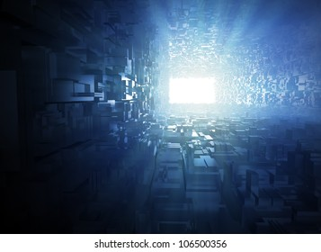 3D illustration abstract - light at the end of the tunnel