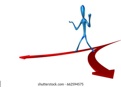 3d  Illustration of an abstract man taking a decision at a crossroad of two splitting arrows