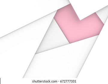 3d illustration. abstract white paper overlap on pink paper in heart shape background