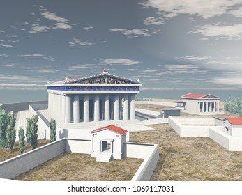 3d illustration of the Acropolis of Athens in antiquity