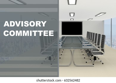 """3D illustration of """"ADVISORY COMMITTEE"""" title on a glass compartment"""
