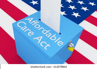 """3D illustration of """"Affordable Care Act"""" script on a ballot box, with US flag as a background."""