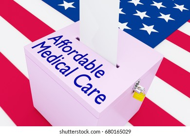 "3D illustration of ""Affordable Medical Care"" script on a ballot box, with US flag as a background."