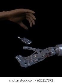 3D illustration of an african human hand giving a modern car key to a robotic hand. Futuristic vehicle driver assist concept.