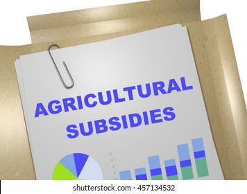 """3D illustration of """"AGRICULTURAL SUBSIDIES"""" title on business document"""