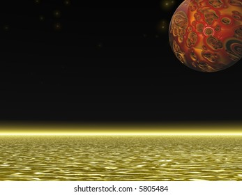 3D illustration of an alien planet and sea