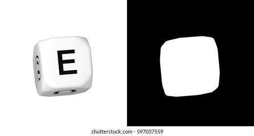 3D illustration alphabet DICE with Alpha in random rotation,character E