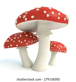 3d illustration of amanita mushrooms