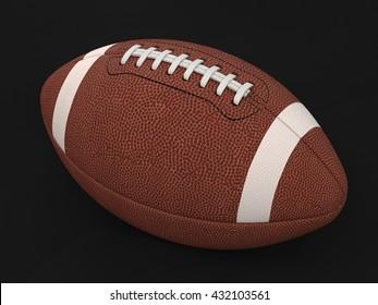 3d Illustration of american football ball on black background