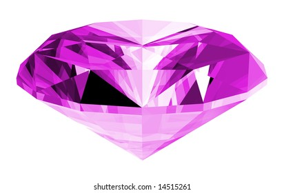 A 3d illustration of a amethyst gem isolated on a white background.